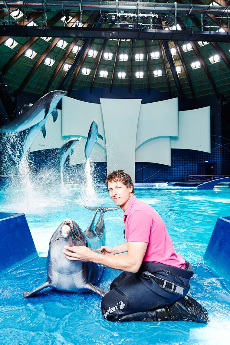 Dolphin trainer at the Dolfinarium Harderwijk