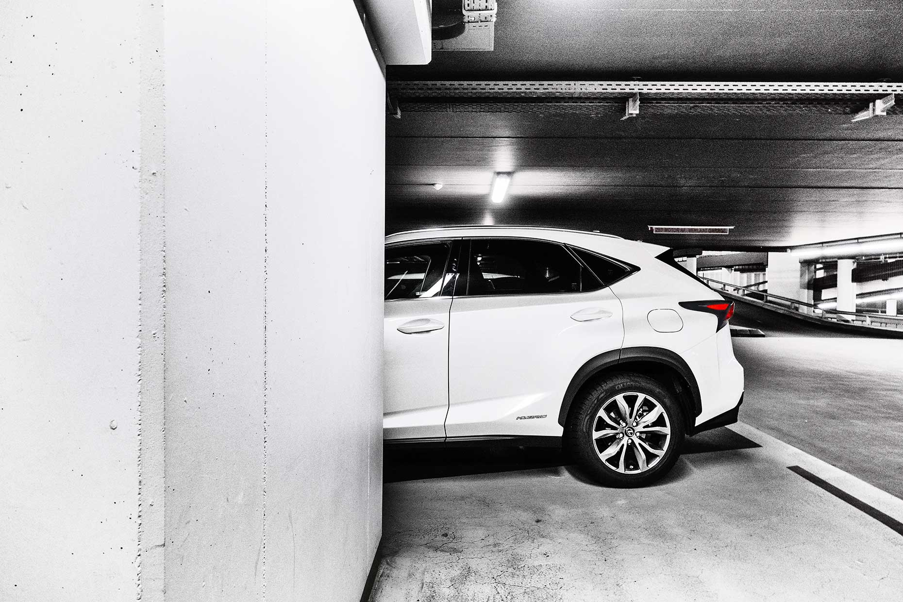 Lexus NX 300h  in parking garage