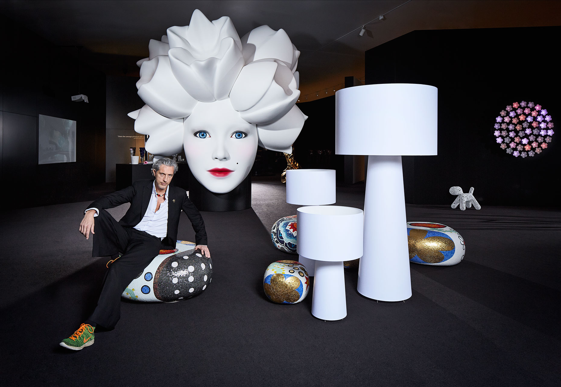 Dutch designer Marcel Wanders in his exhibition at the Stedelijk Museum Amsterdam, expositie