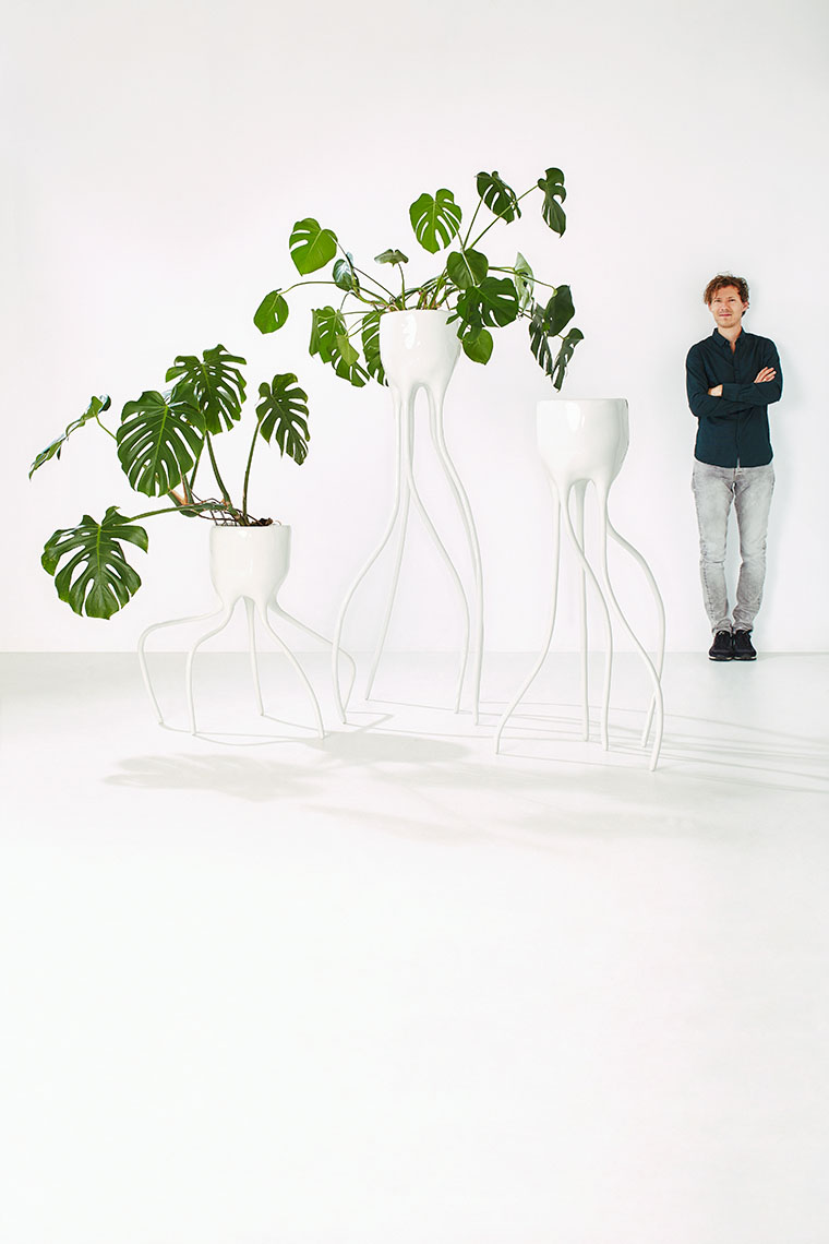Dutch designer Tim van de Weerd with Monstera flowerpot